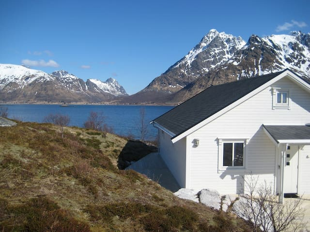 Cabin by the sea with spectacular view in Lofoten - Laupstad - Houten huisje