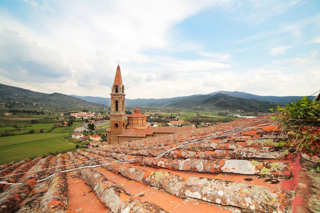 View from our terrace over Collegiata Church and the surrounding valley