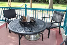This is a combination fire pit for cold evenings and barbecue grill to prepare your steak.