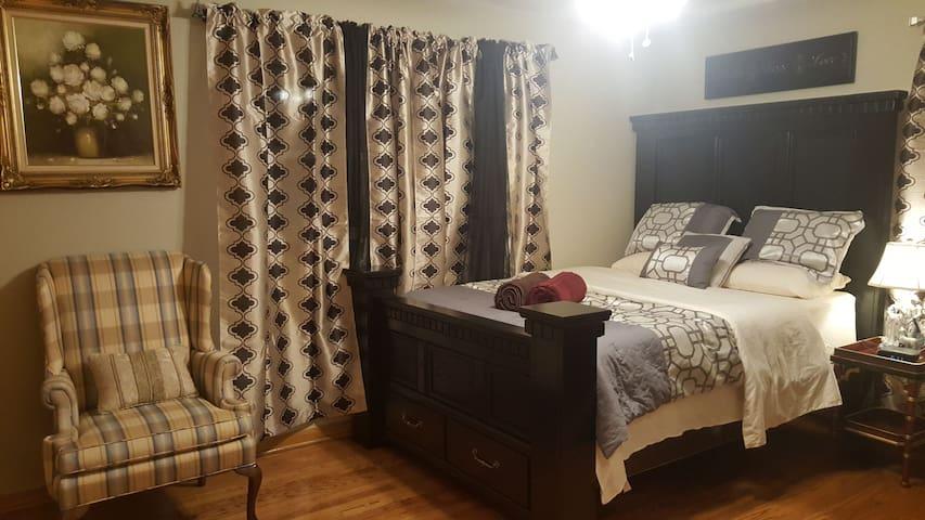 Bedroom #1 a very comfortable queen bed with memory foam mattress.