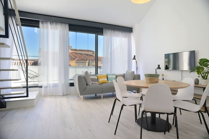 3-bedroom duplex, rooftop terrace, Reina Sofia, AC