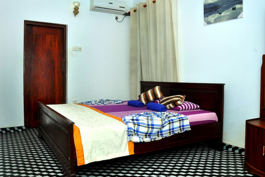 fully equipped bed rooms with attached bath rooms and hot water