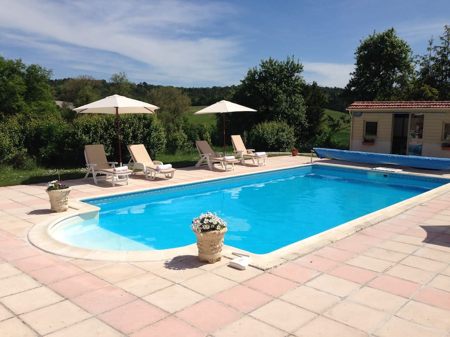 Relax around the heated pool
