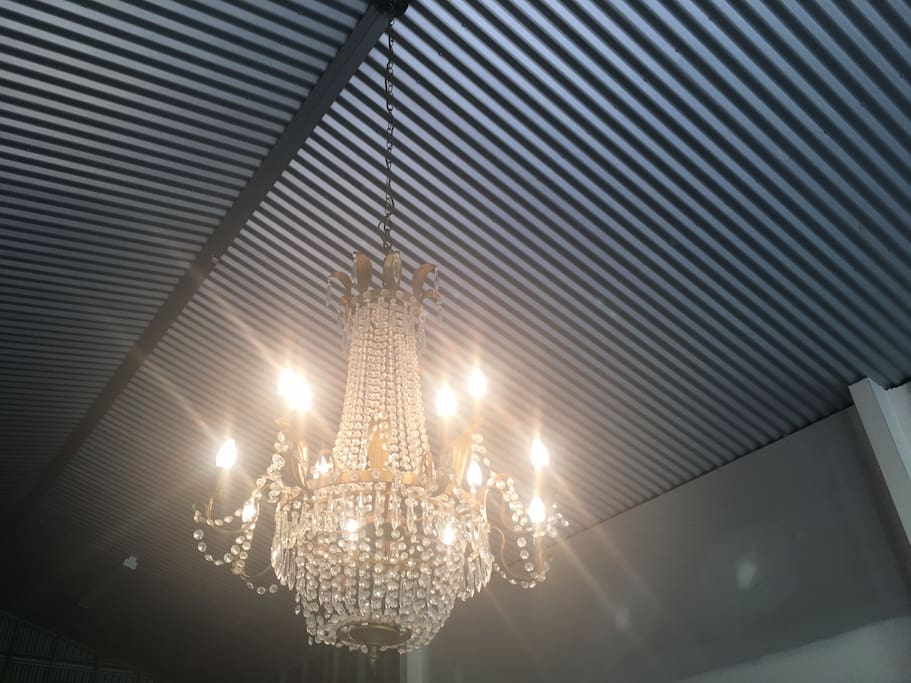 BYRON BAY'S FAB SWANKY SHED The vintage crystal lighting throughout  makes the snazzy feeling of the Swanky Shed an opulent entertaining area!