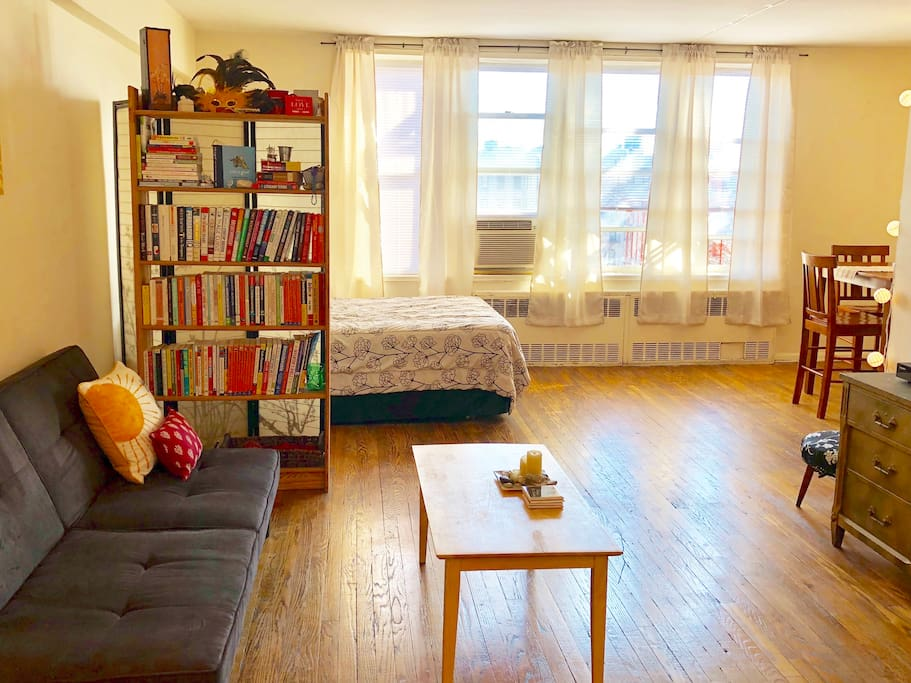 Make yourself at home in this airy, bright, and spacious Brooklyn studio.