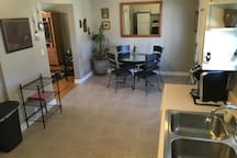 Kitchen and dining area from stove.