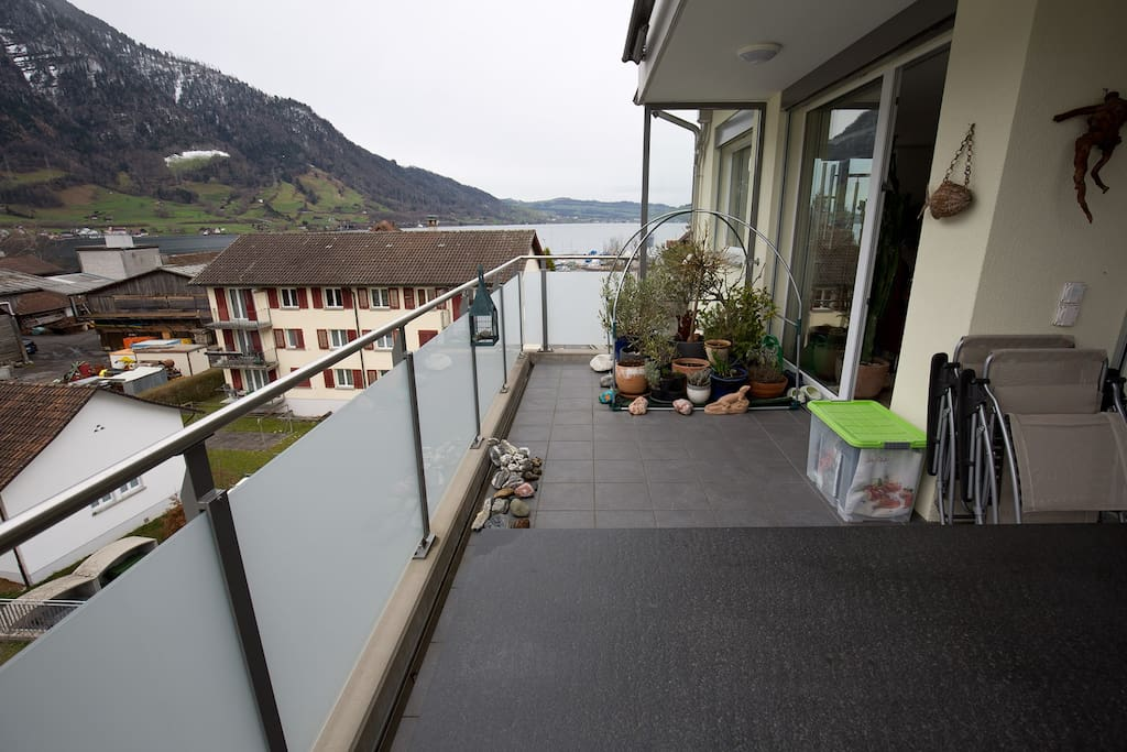 Balcony with seaside to lake of Zug