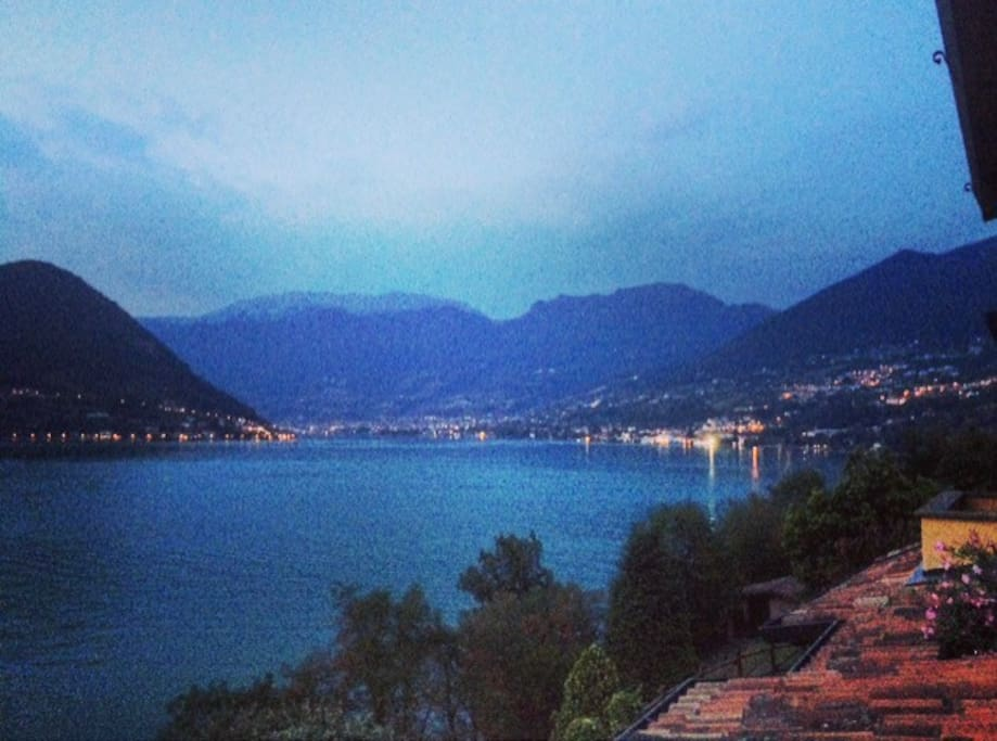 Night view on the Brescia side of the lake where Christo opera's will take place