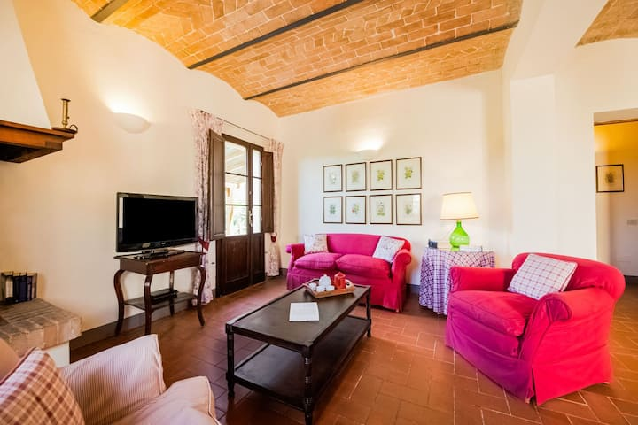 small village of beautiful apartments in the green Tuscan hills and olive groves
