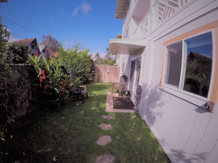 This is your yard.  We live upstairs.  Check out the garden.