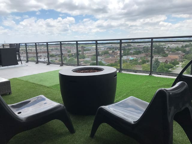 This terrace features 7 unique patio sets, 2 firepits, a huge outdoor ping pong table with full northern, western and southern exposure.