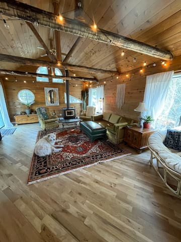 The hangout room of the house. Complete with a large tv with good stereo system. Comfy, vibey furniture. A beautiful, vintage desk looking out over the backyard. Wood burning stove, perfect for chilly evenings. Sleeper sofa.