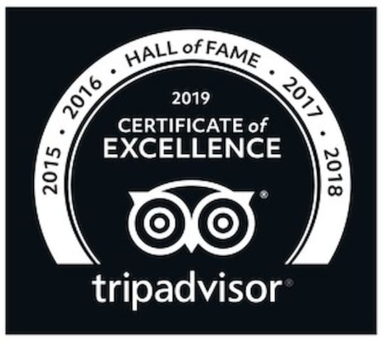 Trip Advisor Certificate of Excellence - 6 consecutive years = Hall of Fame Status