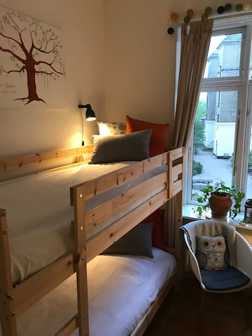 Bunk bed - there is 3,2 meters to the ceiling, so there is plenty of space in both top bunk and bottom bunk.