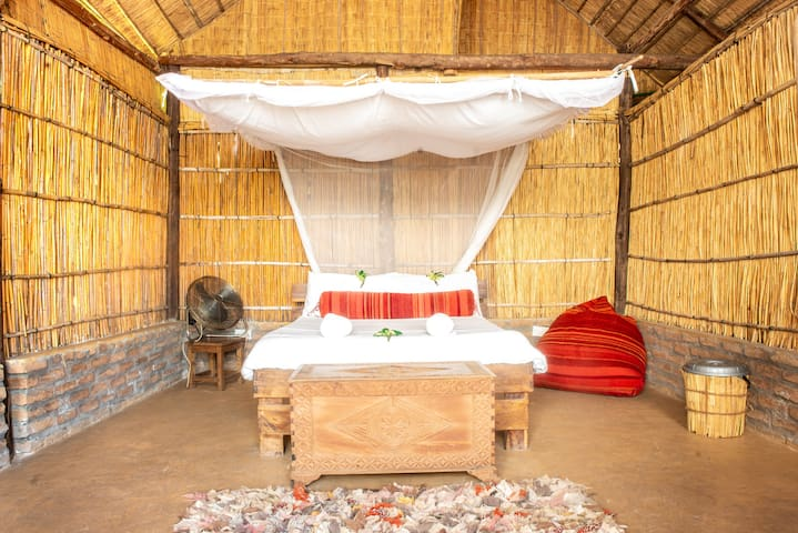 Nyimbo (means song/s) is our other beach front en-suite chalet. This one also has a special and unique shower!!!