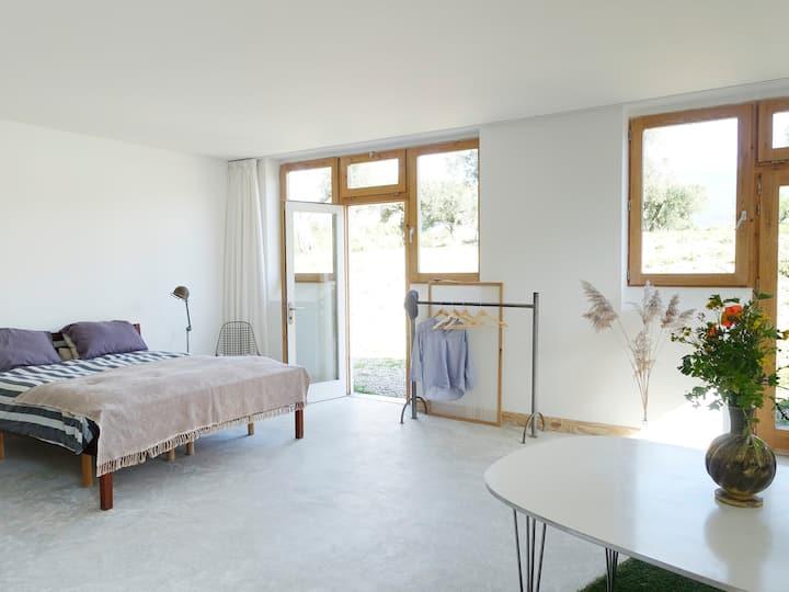 Big sunny room with mountain views