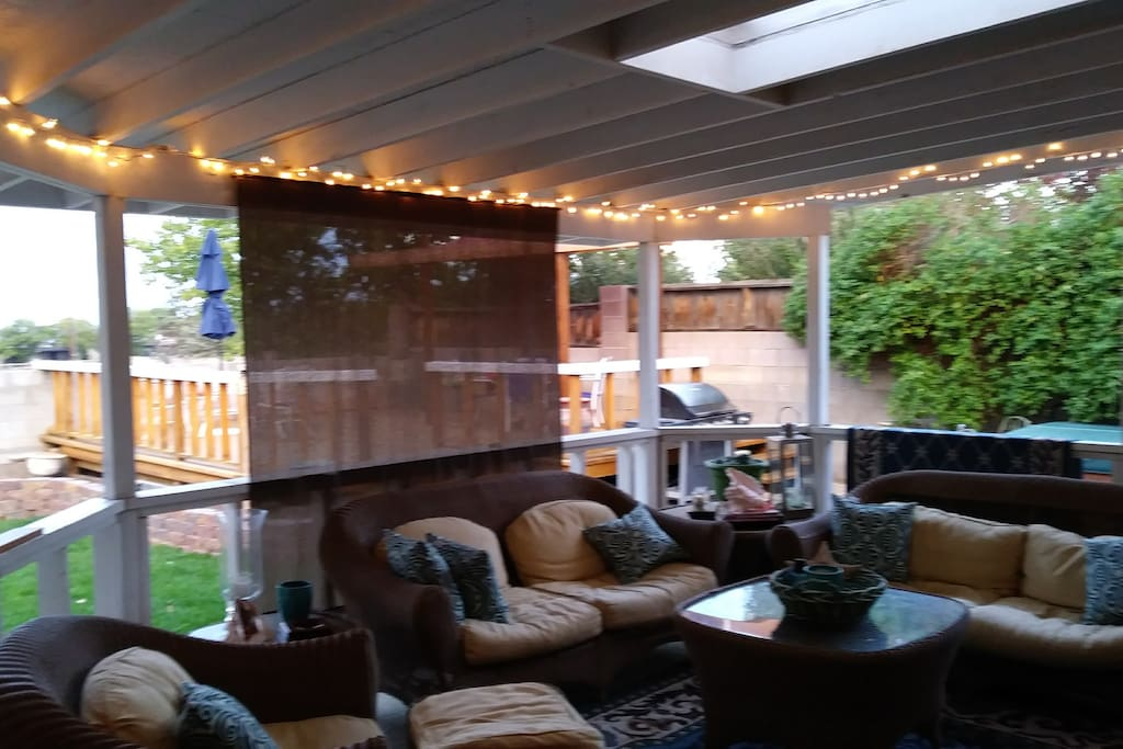 Large covered outdoor back porch.