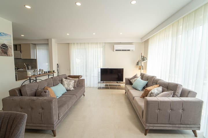 The interior of our duplex is quite spacious and bright.