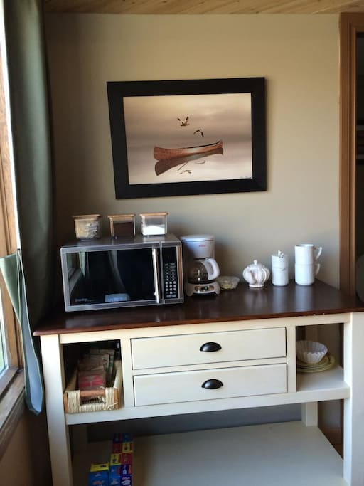 A mini-kitchenette is available in the room with microwave, kettle (not photographed), coffee facilities