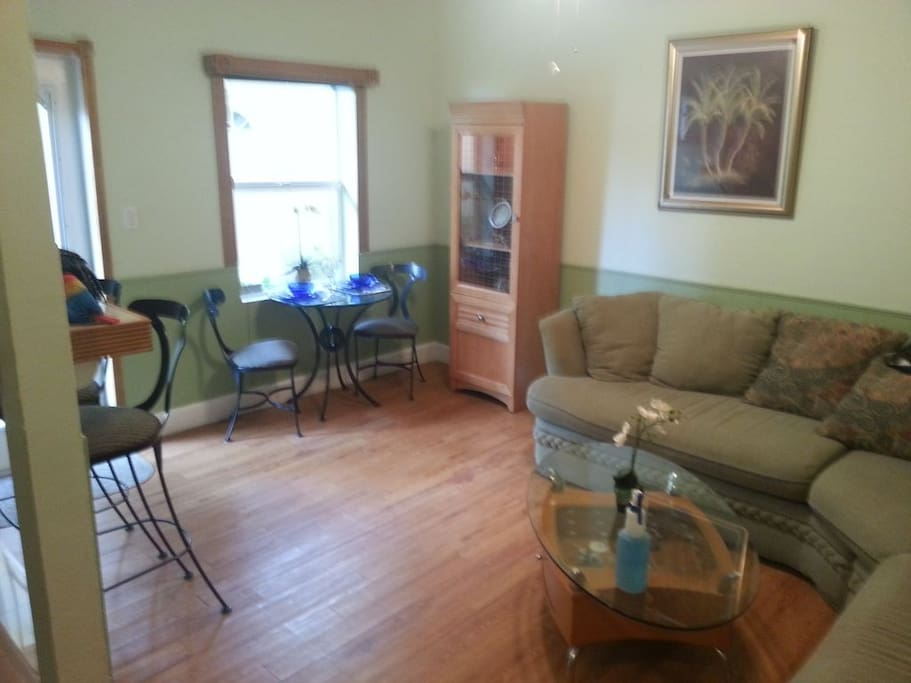 Wood floors and trim -large couch