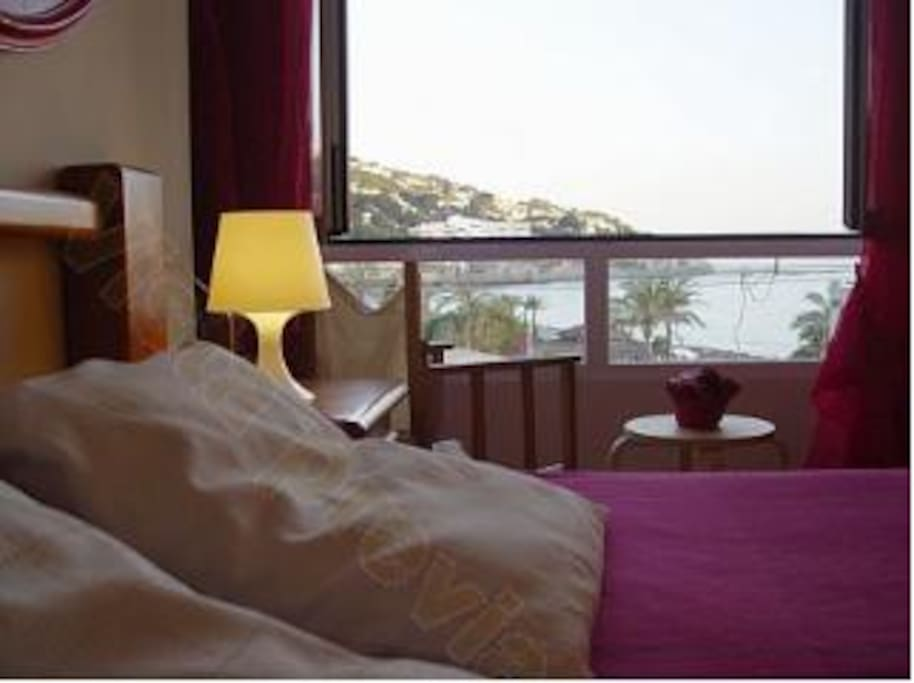 Double Room.  Look at the sea from the bed.