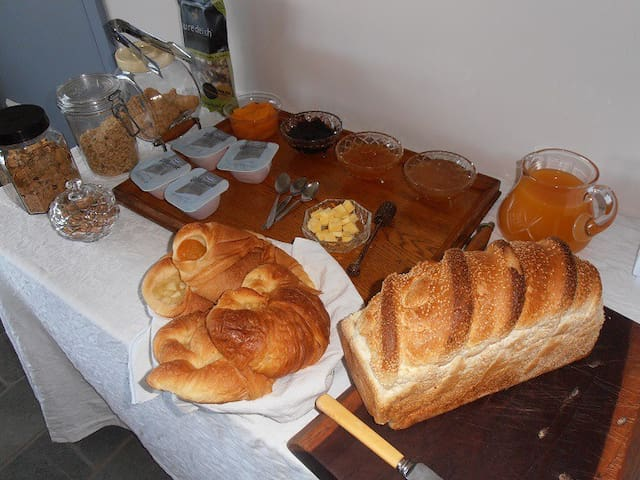 Our continental breakfast includes cereal and muesli, yoghurt, fruit (fresh and preserved), jams and honey, bread and croissants and juice.
