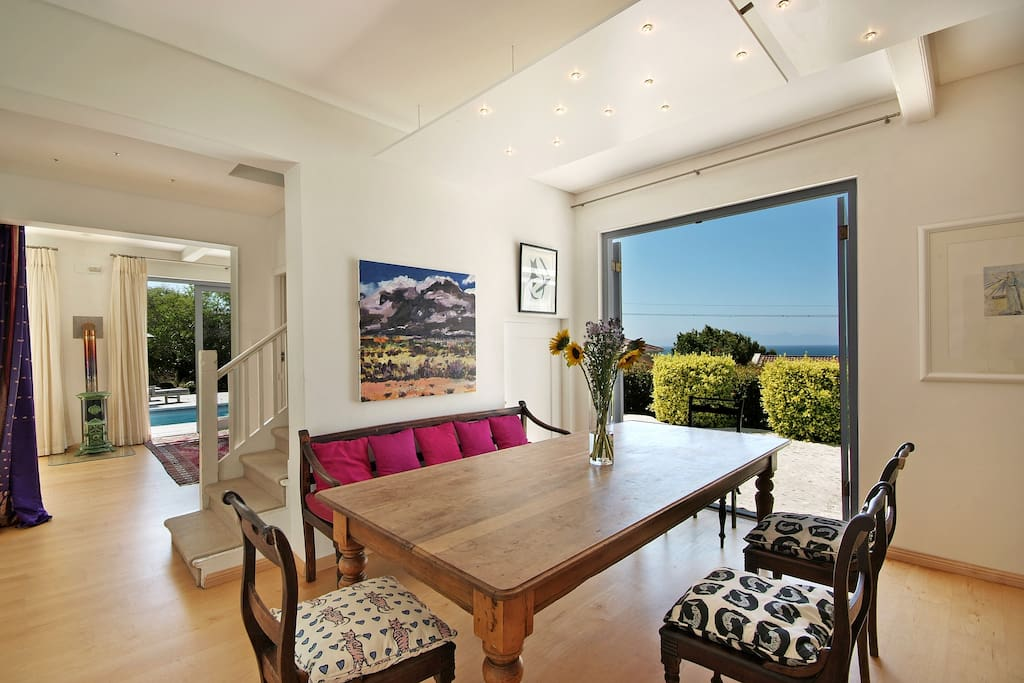 Dining room looking onto False Bay.