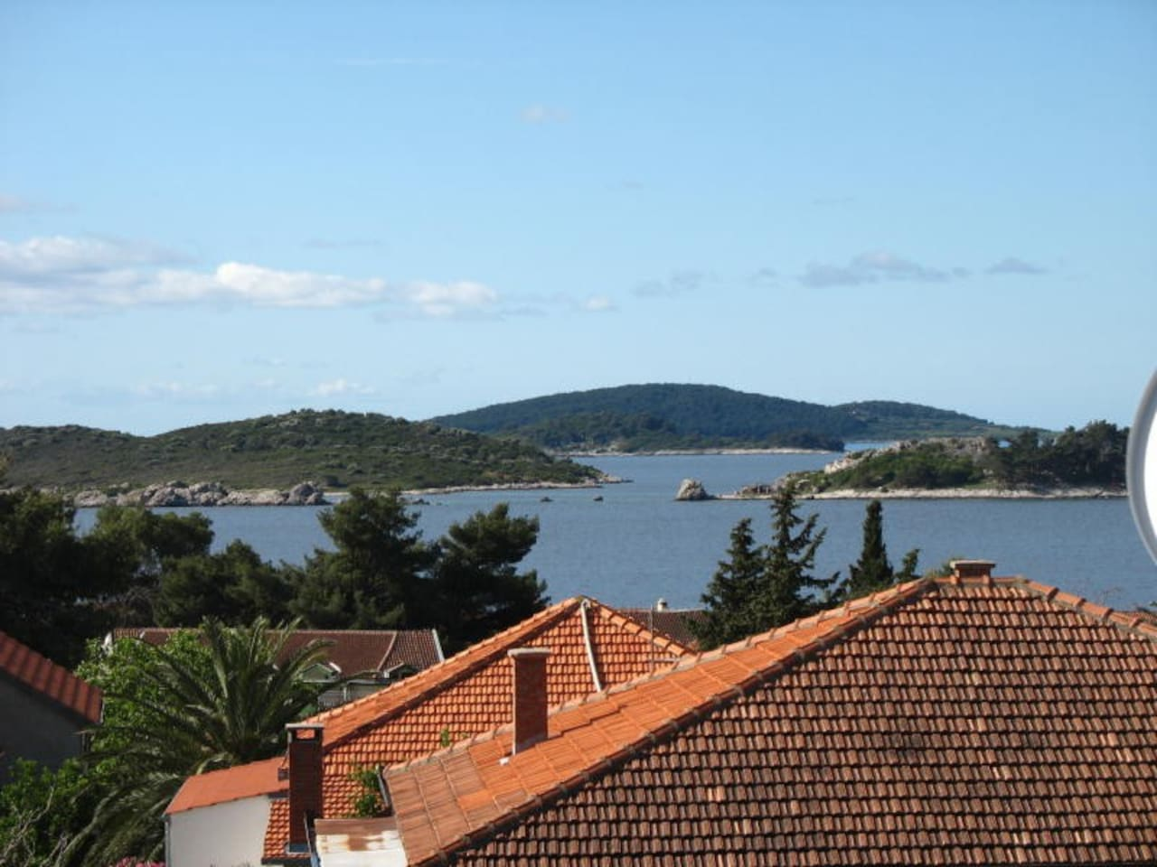Great view of sea and islands from top floor balcony