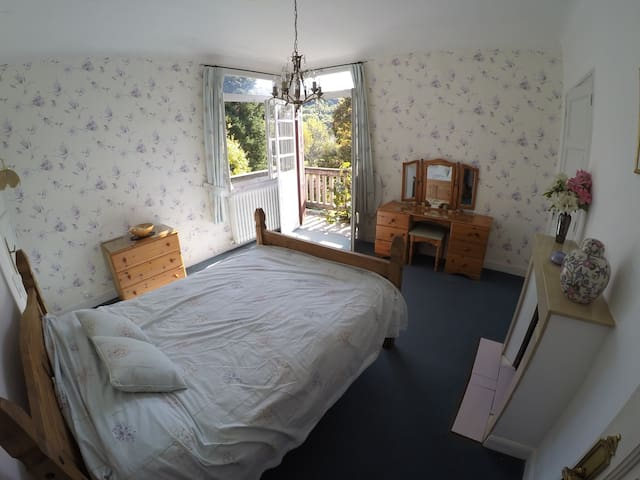 The bedroom with balcony