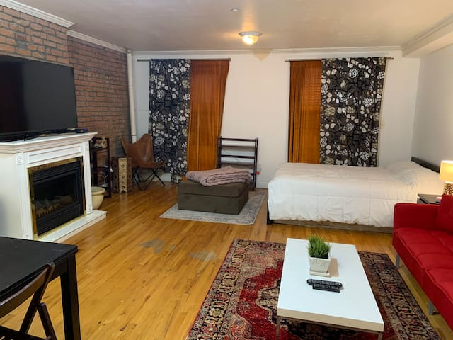West Village spacious studio with fire place