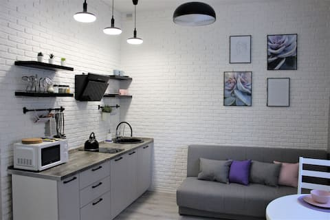 Lilac flat in the heart of Yekaterinburg