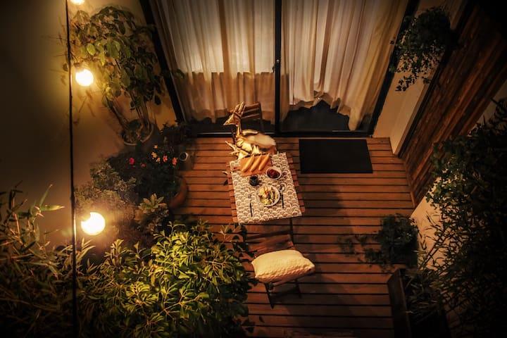【夜曲】暮色下的Cozy时光(投幕电影&浪漫花园)常熟路地铁站3分钟 - 上海 - House