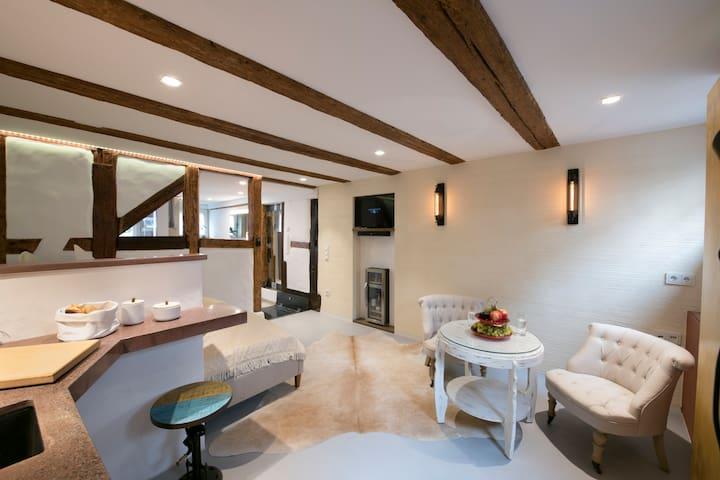 Wohnbereich mit Küchenecke, Minibar und TV, Sonos Musiksystem
