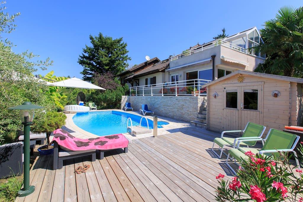 Belle villa spacieuse avec piscine jacuzzi sauna - Hotel aix les bains avec jacuzzi dans la chambre ...