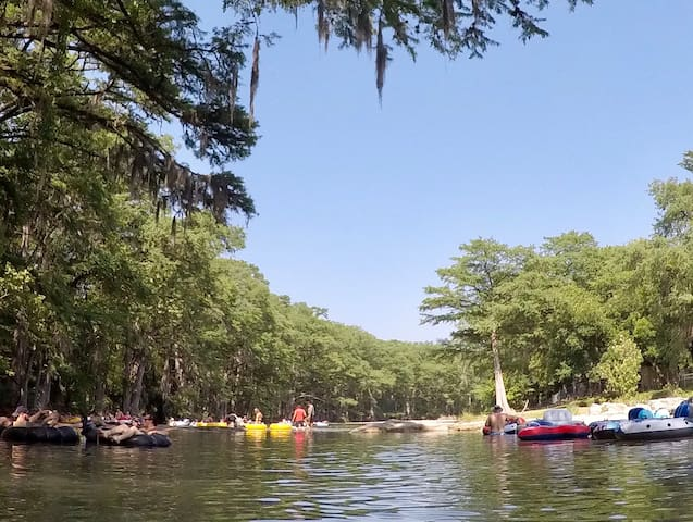Tubing down Guadalupe River, less than two miles down the street from us