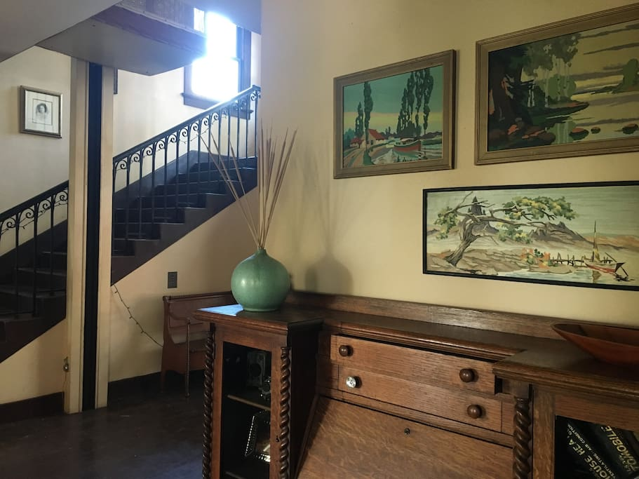 Foyer leading to upstairs apartments. The elevator you see is the original one that Zane Grey installed in the 20's