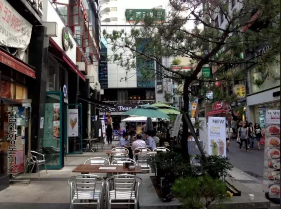 once you step out of the building, you will be surrounded by many shops and restaurants and coffee shops ^^ are you ready to go shopping?^^