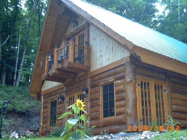chalet en bois rond au bord du lac  - Grenville - House