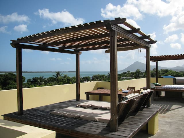 Studio 4 Le Morne views and lush garden terrace