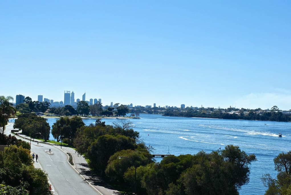 The spectacular view from your Bedroom of the river and Perth City!