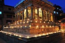 Krishna temple on Swotha Square, on a Tihaar night