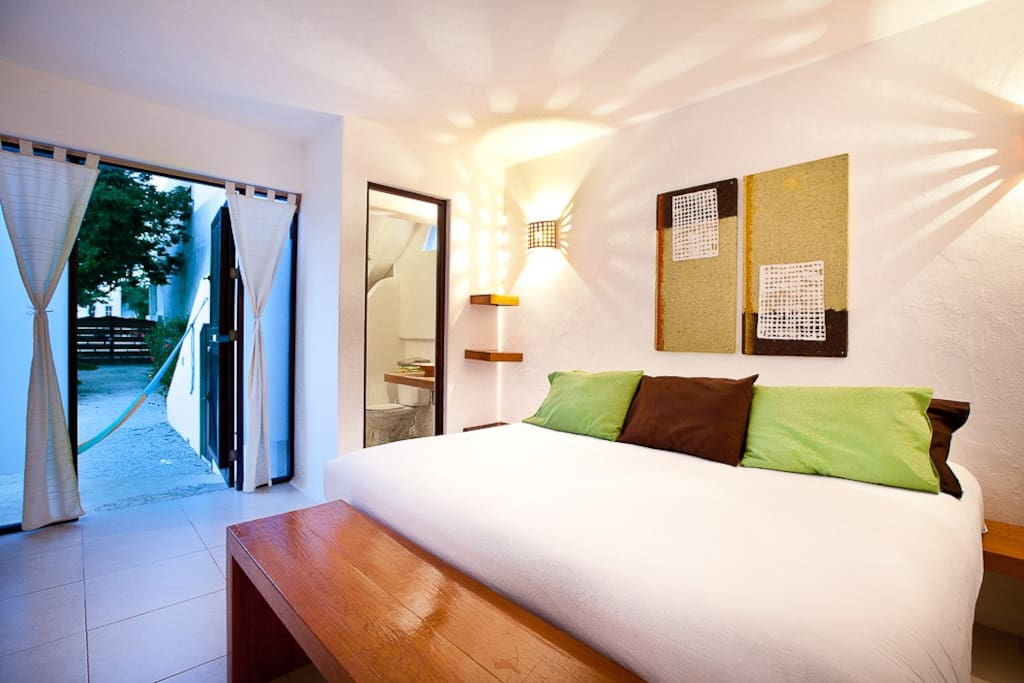 The Lime apartment's second room with its own bathroom at Cozumel Suites&Apartments Rentals
