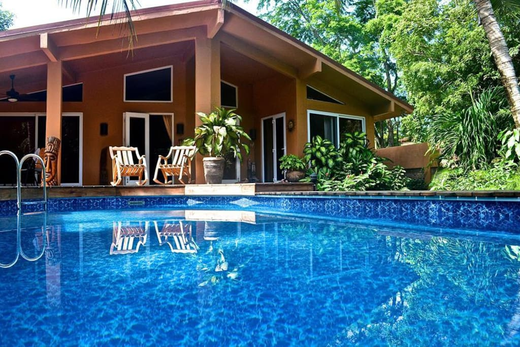 View of house patio from pool.