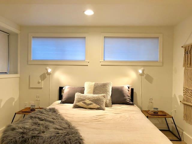 Bedroom with designer memory foam Queen mattress.