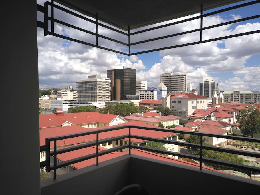 View from the balcony with the Roman Catholic Hospital (red roof), Namdeb Centre( black building), amongst others in walking distance.