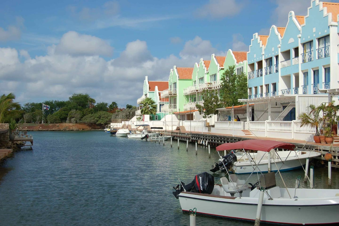 "Breezy Bonaire ""blue view"" apartment - water front condo complex.  Your apartment is on the top floor of the blue building"