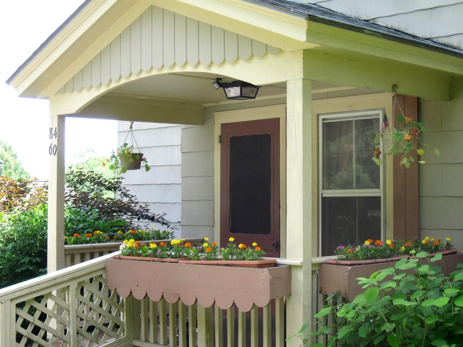 Cheerful front porch entrance.