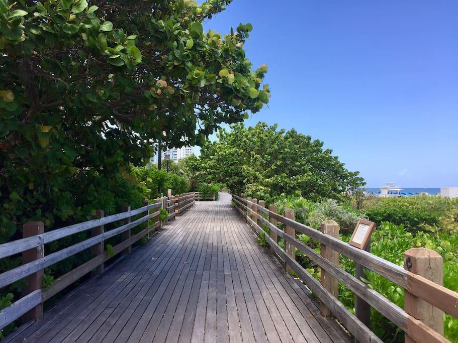 Boardwalk across street