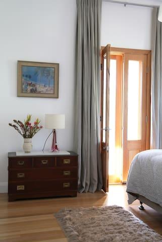 French doors in East bedroom