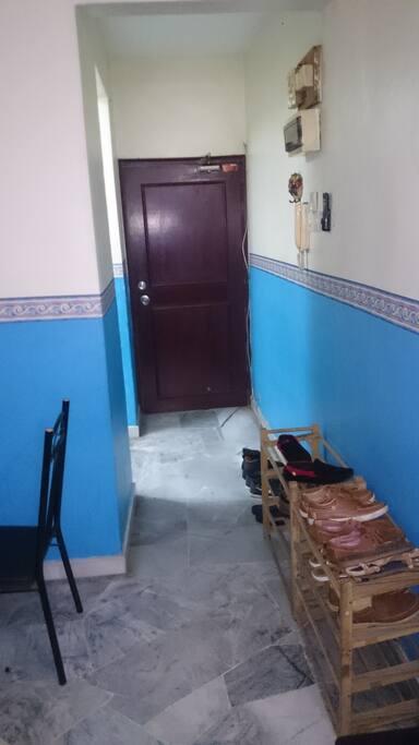 Main Door, shoes rack